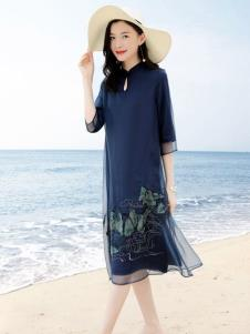 彩知丽CZHLE藏青色连衣裙