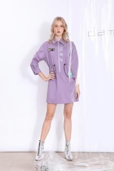 丹比奴女装香芋紫拉链连衣裙