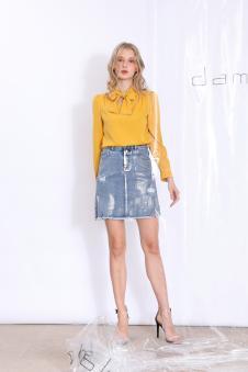 丹比奴女装金粉涂层牛仔半裙