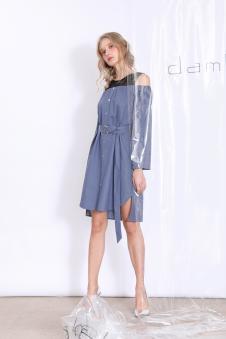 丹比奴女装蕾丝拼接连衣裙
