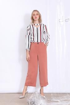 丹比奴女装条纹衬衫新粉色阔腿裤