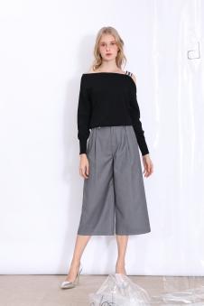 丹比奴女装纯黑子母带长T铁灰阔腿裤