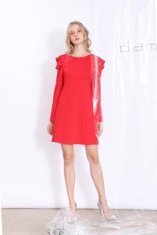 丹比奴女装大红露肩长裙