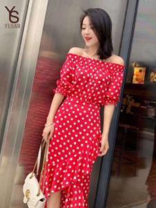 雨珊女装红色波点连衣裙