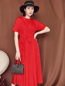 搜美女装红色蕾丝裙
