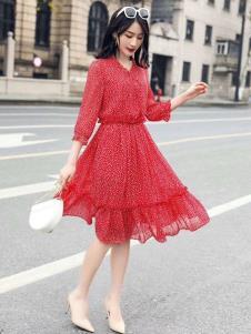 搜美女装红色雪纺裙