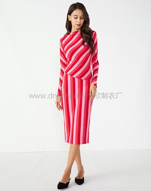 色拼接修身条纹女式连衣裙