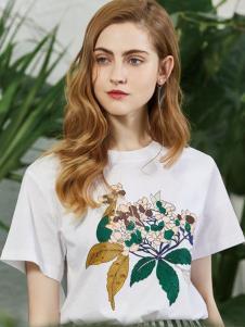 2019安卡茜女装白色印花T恤