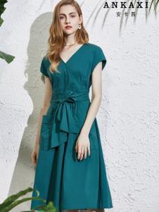 2019安卡茜收腰绑带连衣裙