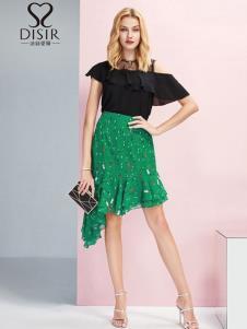 迪丝爱尔女装19绿色时髦半裙