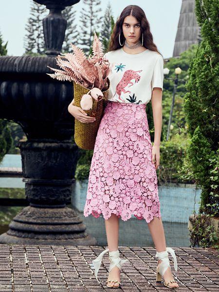 SIEGO西蔻19新款粉色蕾丝半裙