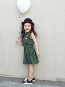 Apple Orange女童绿色简约裙子