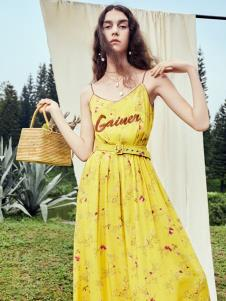 SIEGO西蔻19新款黃色吊帶裙
