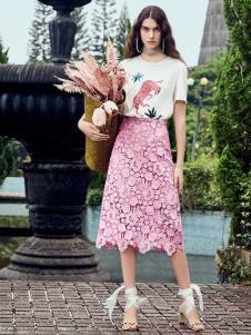SIEGO西蔻19新款粉色蕾絲半裙