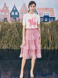 SIEGO西蔻粉色时髦半裙19新款
