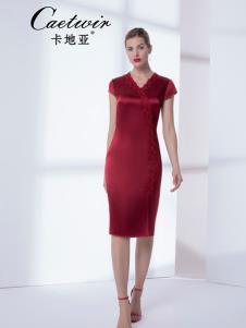 卡地亚中高端女装红色优雅连衣裙