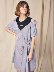 SIEGO西蔻19蓝色条纹露肩裙