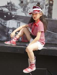YukiSo童装女童夏红色条纹T恤