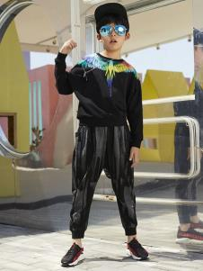 YukiSo童装男童黑色休闲卫衣