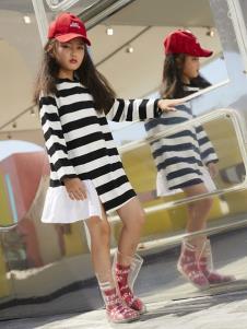 YukiSo童装女童条纹连衣裙
