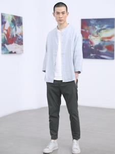 线锁男装棉麻衬衫