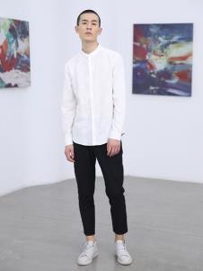 线锁男装白色休闲衬衫