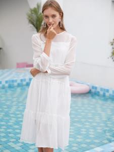 2019EI女装白色棉麻连衣裙