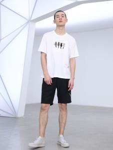 线锁男装白色T恤