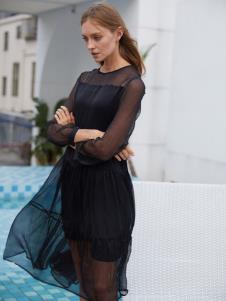 2019EI女装唯美黑色连衣裙