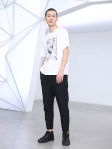 线锁男装白色新款T恤