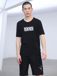 线锁男装黑色T恤19新款