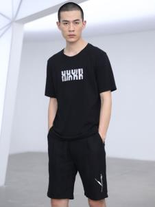 线锁男装黑色T恤