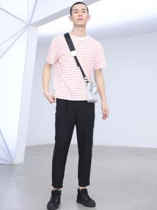 线锁男装红色条纹T恤