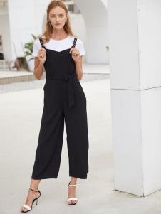 2019EI女装黑色简约背带裤