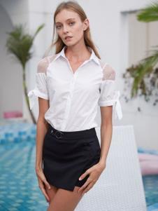 2019EI女裝白色露肩襯衫