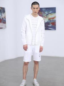 线锁男装白色休闲外套