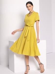 芮色黄色收腰连衣裙