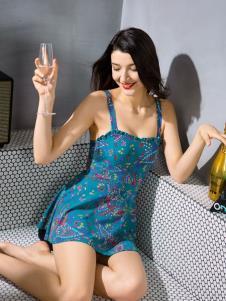 布迪设计蓝色性感吊带泳衣