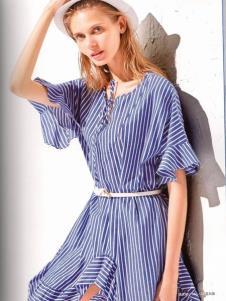 衣魅人条纹连衣裙品牌折扣