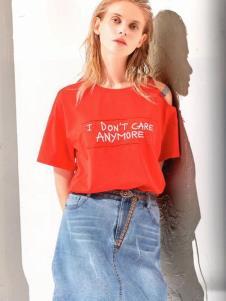 衣魅人品牌折扣女装红色T恤