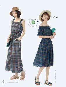 衣魅人品牌文艺格子裙
