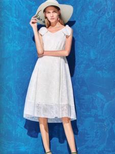 衣魅人品牌折扣白色连衣裙