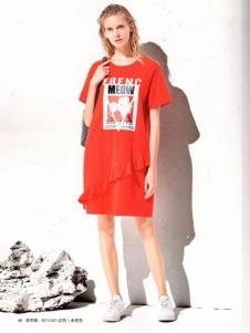 衣魅人品牌折扣红色休闲连衣裙