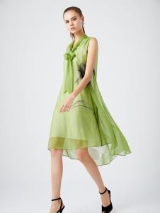 迪如女装DU迪如女装新款浅绿色连衣裙