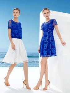 迪如女装DU迪如女装新款蓝色连衣裙