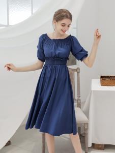 艾诺绮夏季新款圆领连衣裙