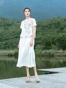 2019谷度女装白色亚麻套装裙