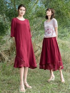 2019谷度女装酒红色裙装系列
