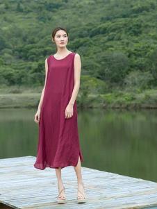 2019谷度女装酒红色连衣裙