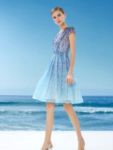 DU迪如女装新款浅蓝色连衣裙